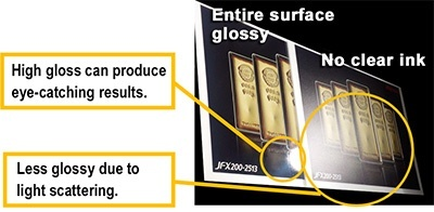 Entire surface glossy: High gloss can produce eyecatching results. No clear ink: Less glossy due to light scattering.